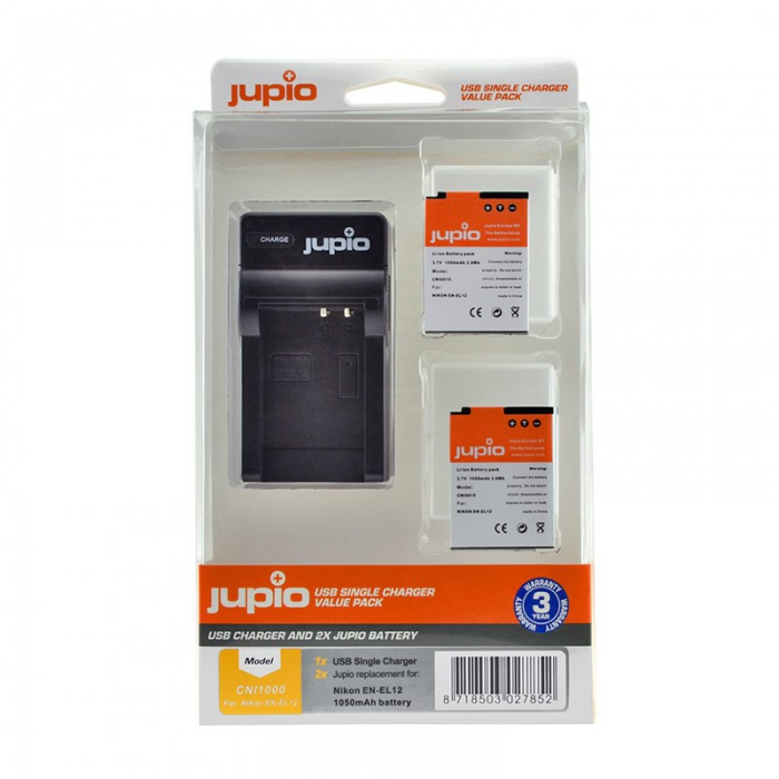 Jupio EN-EL12 kit: (2x accu EN-EL12 + USB lader)